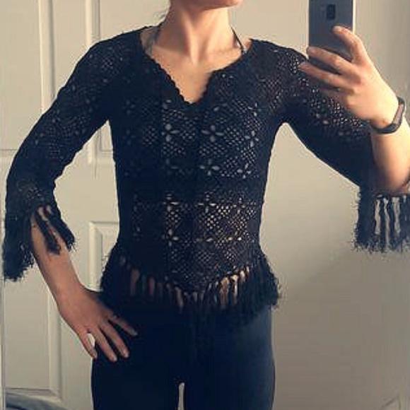 Anne-X Crochet top with tassels